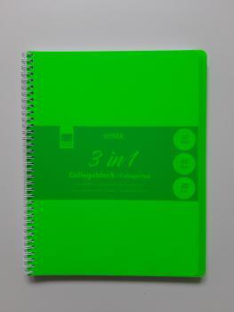 Collegeblock - Multiblock A4 - 3 in 1 kariert, liniert und blako, mit Rand - 90 Blatt / PP- Einband - grün